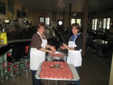 Angela and Maria making our homemade meatballs!