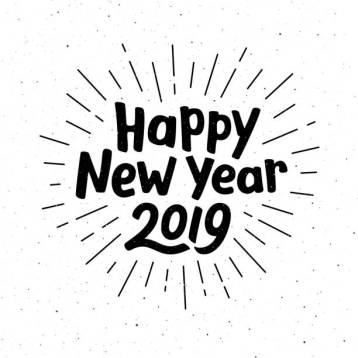 Happy New Year 2019 typography